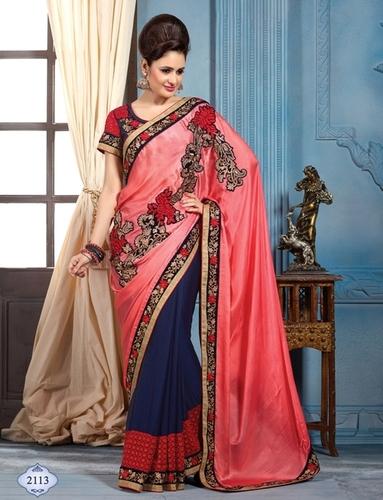 Pink and Orange New Designer Heavy Saree