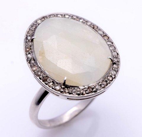 White Sapphire & Diamond Gemstone Ring