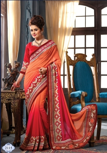 Red and Orange Chifoon and Georgette Saree