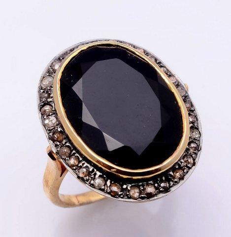 Black Onyx & Diamond Gemstone Victrian Ring