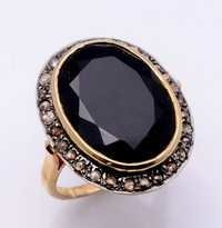Black Onyx & Diamond Gemstone Victrian Ring