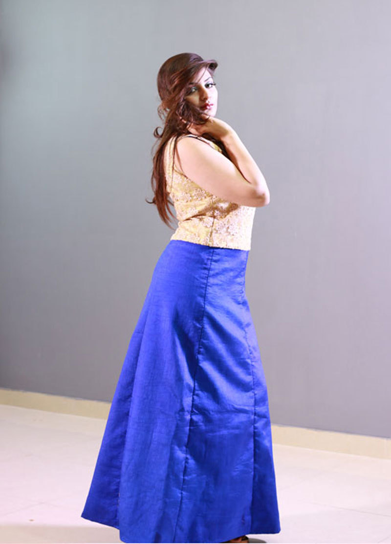 Blue and golden gown