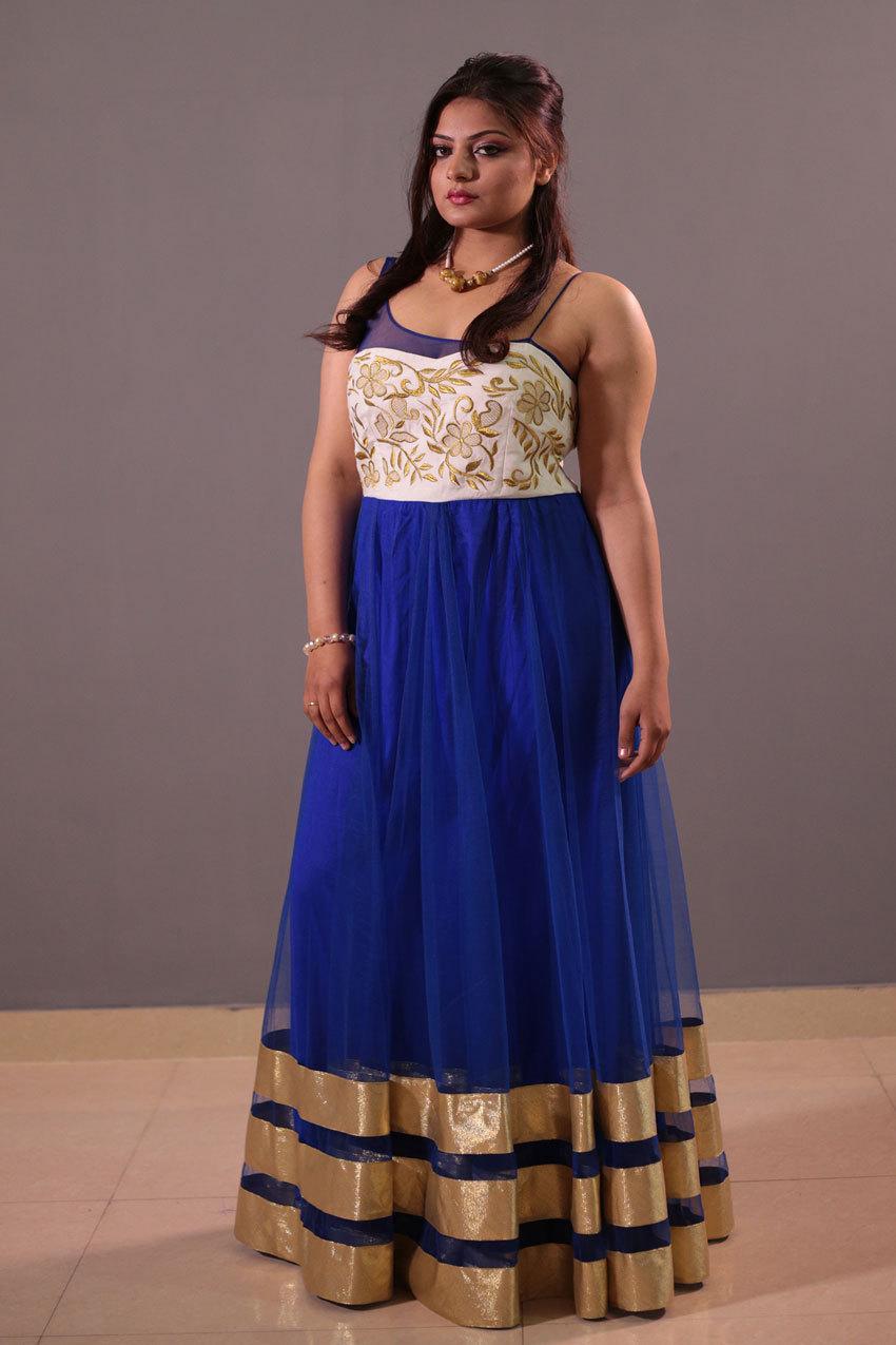 Bluei indo western wear gown