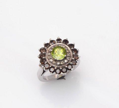 Peridot & Smoky Topaz Gemstone Victorian Ring
