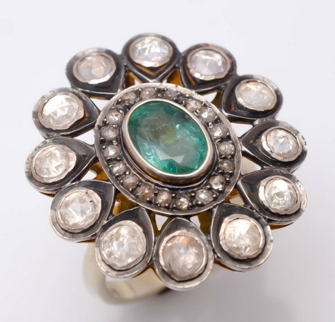 White Sapphire & Emerald Victrian Ring