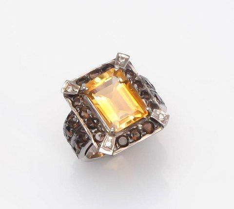 Citrine Quartz & Smoky Topaz Gemstone Victorian Ring