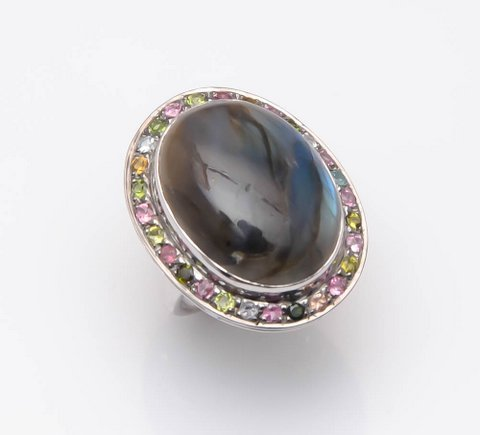 Labradorite & Multi Gemstone Victorian Ring