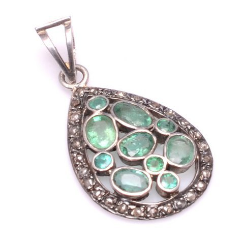 Emerald & Diamond Gemstone Victorian Pendant