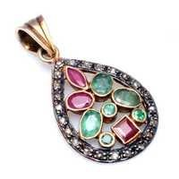 Ruby & Emerald Gemstone Victorian Pendant