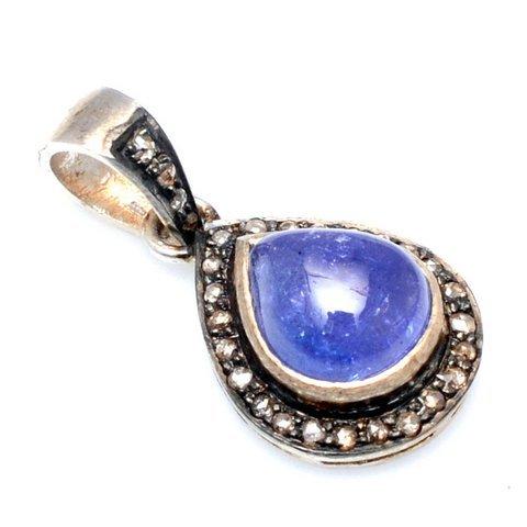Tanzanite & Diamond Gemstone Victorian Pendant