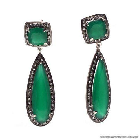 Green Onyx & Diamond Gemstone Victorian Earring