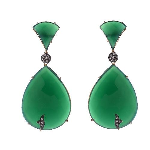Green onyx & Zirconia Gemstone Victorian Earring