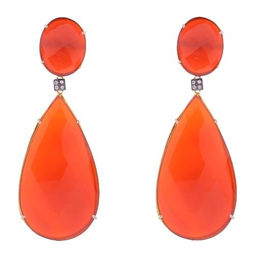Orange Chalcedony & Zircon Gemstone victorian Earring