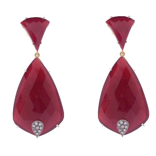 Red Onyx & Zirconia Gemstone Victorian Earring
