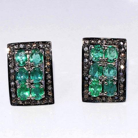 Emerald & Diamond Gemstone Victorian Ear Stud