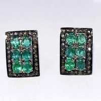 Emerald & Diamond Gemstone Victorian Ear Stud