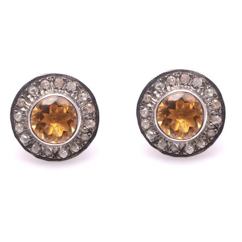Citrine Quartz & Diamond Gemstone Victorian Earstud