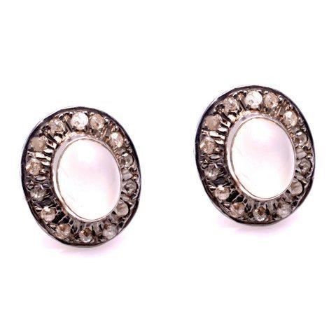 Rose Quartz & Diamond Gemstone Victorian Ear Stud