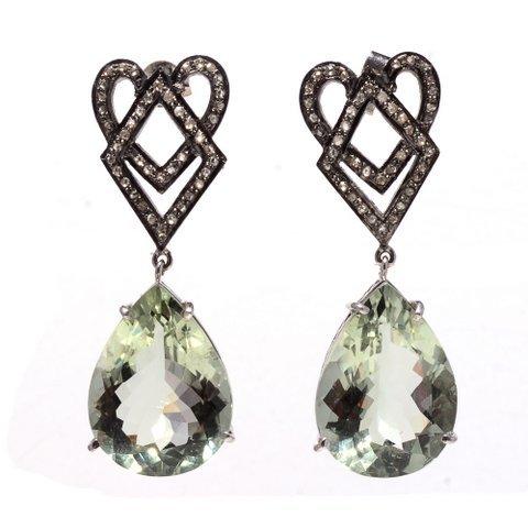 Green Amethyst & Diamond Gemstone Victorian Earring