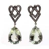 Green Amethyst & Diamond Gemstone Victorian Earring