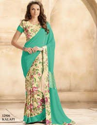 Multicolor Crape Silk Printed Saree