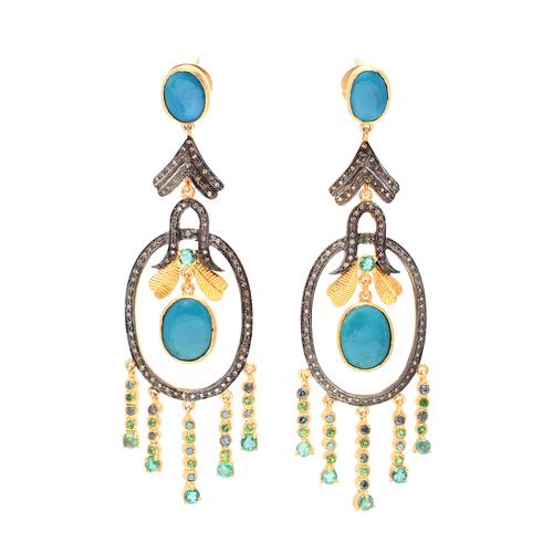 Turquoise / Blue Topaz & Diamond Gemstone Victorian Earring