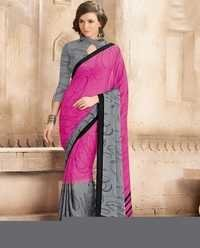 Multicolored crape silk saree with crape silk blouse