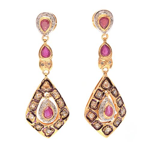 Natural Ruby & Diamond Gemstone Victorian Earring