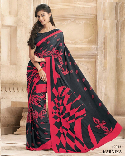 Multicolored crapesilk saree with crape silk blouse