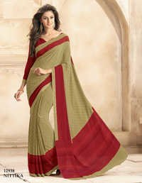 Multicolored crape silk printed casual saree