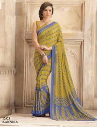 Multicolored Crape Silk Printed Saree