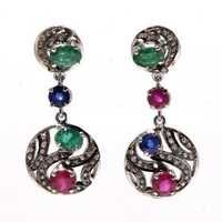 Multi Gemstone & Diamond Gemstone Victorian Earring
