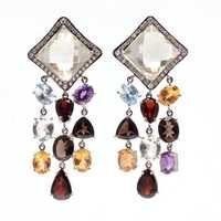Multi Gemstone & Diamond Gemstone Victorian Earring