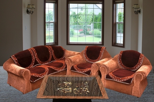 CHOCOLATY PLAIN CHENILLE SOFA COVER