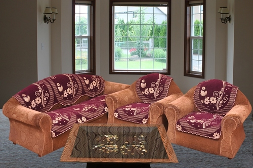WINE CHENILLE SOFA COVER