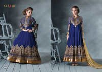 DESIGNER BLUE AND GOLDEN LONG SLEEVE ANARKALI SUIT