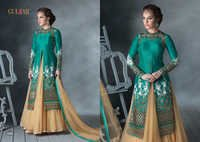 LATEST DESIGNER HEAVY AQUA AND CREAM EMBROIDERY INDO WESTERN STYLE STRAITE SUIT