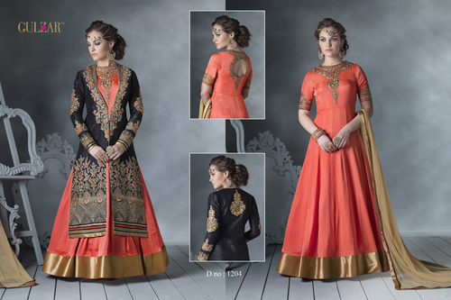 LATEST DESIGNER HEAVY ORANGE AND BLACK EMBROIDERY INDO WESTERN STYLE ANARKALI SUIT