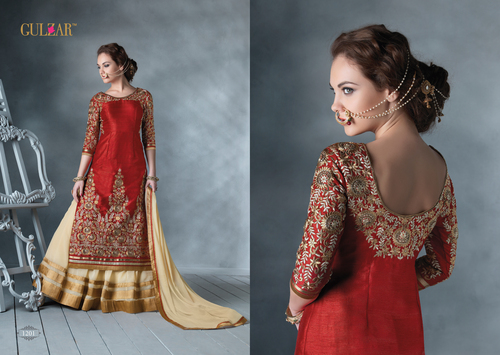 HEAVY RED AND CREAM EMBROIDERY INDO WESTERN STYLE STRAITE SUIT