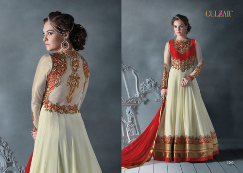 DESIGNER OFF WHITE & RED LONG SLEEVE ANARKALI SUIT