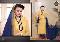 NEW DESIGNER CREAM & BLUE STRAIGHT SUIT