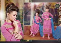 DESIGNER PINK AND BLUE STRAIGHT SUIT