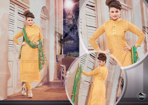 YELLOW AND GREEN STRAIGHT SUIT