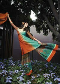 Multicolored Cotton and Jacquard Palazzo Salwar Suit