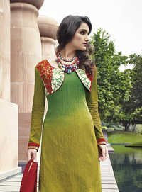 Multicolored Cotton and Jacquard Straight Palazzo Salwar Suit.