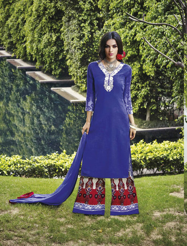 Blue Cotton and Jacquard Thread Embroidery Work Palazzo Salwar Suit
