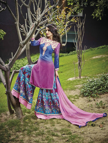 Multicolored Cotton and Jacquard Thread Embroidery Work Palazzo Suit