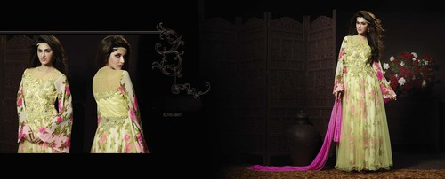LATEST EMBROIDERED DESIGNER LIGHT GREEN AND PINK ANARKALI SUITS