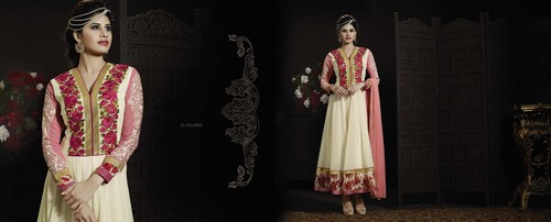 LATEST EMBROIDERED DESIGNER WHITE AND PINK ANARKALI SUITS