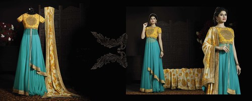 EMBROIDERED DESIGNER YELLOW AND SKY ANARKALI SUITS